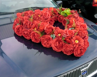 Heart of Silk Peonies, Roses, Gerberas&Callas Wedding Car Decoration