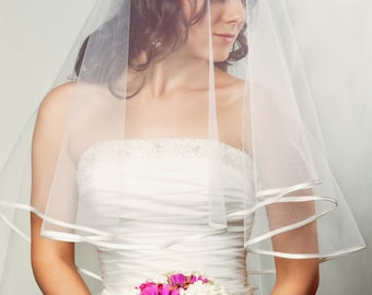 Amy Cascade Center Gathered Fingertop Bridal Veil Satin Edge