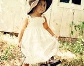 Country Flower Girl Dress... Rustic wedding, Cream, Ivory, White Eyelet, Vintage Lace, Eco-friendly...6m,9m,12m,18m,2t,3t,4t,5,6,7,8,10,12