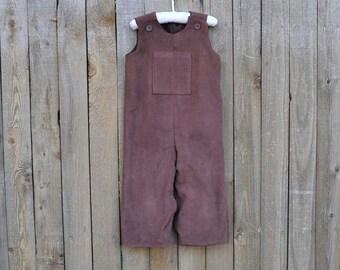 SAMPLE SALE, 2T Brown Corduroy Pocket Front Longalls