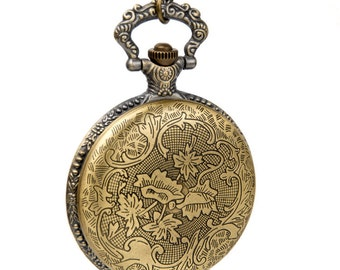 1pcs Large  Lotus Watch Charms Pendant with chain /pocket watch/Bridesmaid , Christmas gifts, friends, children's gifts