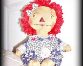 Primitive Folk Art Extreme Grunged Raggedy Annie Doll