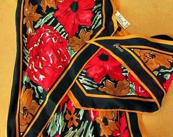 vintage 70s vera neumann floral silk scarf oblong 59 x 7 japan