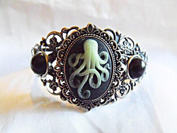 Silver Cameo Cuff Bracelet,  Steampunk Glow in the Dark Octopus Cameo Cuff Bracelet Womens Gift  Handmade