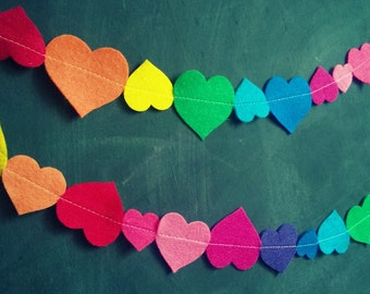 SALE Rainbow Heart Felt Garland