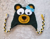 Baylor Bear Crochet Hat - Available With or Without Bow - Photo Prop - Available in Any Size or Color Combination