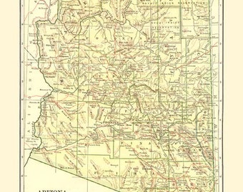 Antique ARIZONA STATE MAP Instant Digital Download