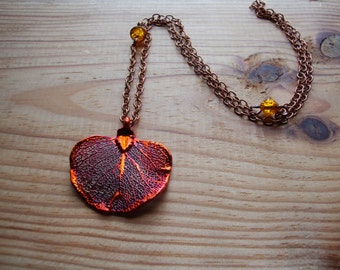 GENUINE Electroplated copper eucalyptus leaf on copper chain with amber crackle glass beads