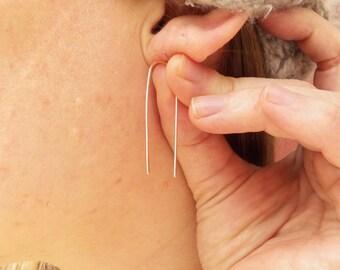 Arc Earrings, sterling silver, long, minimalist earrings, upside down U, horse shoe, omega
