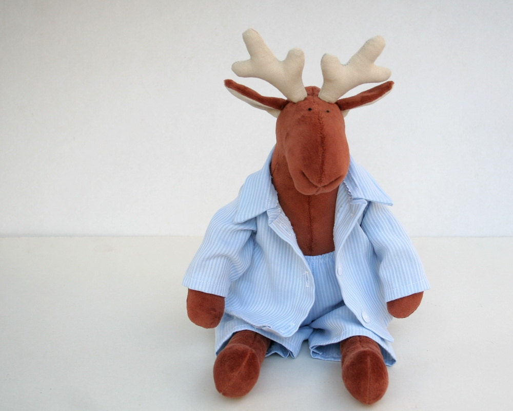 Sleepy Reindeer in pajamas, Christmas Gift, Stuffed animal for kids, Plush Toy in Nightclothes, Sleeping Plushie for Children, Baby Plush