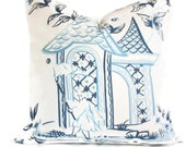 Quadrille China Seas Lyford Print, Chinoiserie Blue and White 22x22 Pillow Cover , Toss pillow, Accent Pillow, Throw Pillow, Pillow Cushion