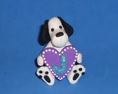 Polymer Clay Large Valentine Initial Dog