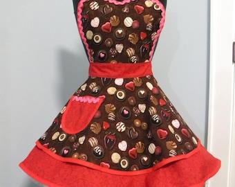 Womens Apron-Chocolate Dreams Valentines Flounce Apron