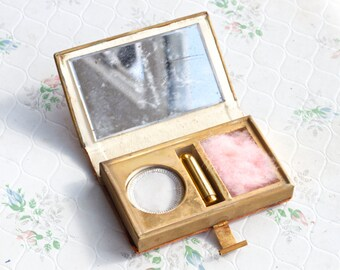 Leather Compact Vanity Set - Lipstick Case Powder and Mirror