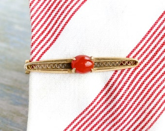 Golden Tie Clip with Red Stone - Vintage Dapper Men