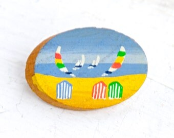 Summer Time Lapel Pin - Miniature Painting on Wooden Brooch with Painted Beach Scene and Sailing Boats