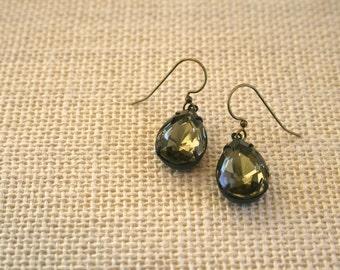 Vintage Black Diamond Jewel Earrings, Oxidized Brass, Oxidized Silver, Estate Style, Lightweight Earrings, Holiday Jewelry