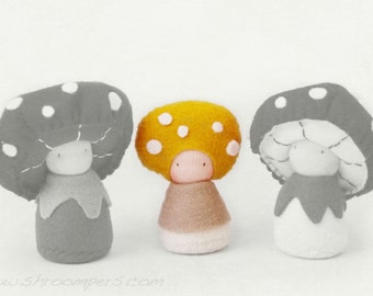 Waldorf Mushroom Felt Dolls / Custom Trio / Mosa, plus you choose two more (except Rosepe and Morella).