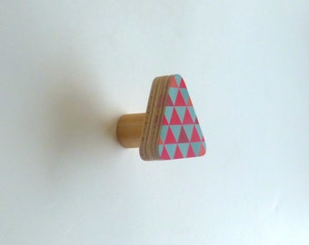 Objectify Blue/Red Triangles Wooden Wall Hook
