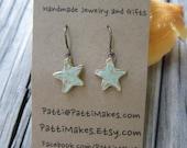 Handmade Ceramic Dangle Sea Star Earrings /Sea Foam Green