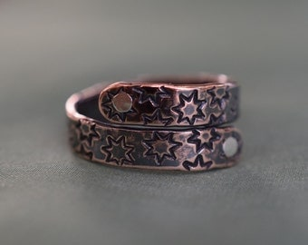 Copper Star Stamped Ring