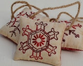 Snowflake Ornaments - Christmas Tree Decorations - Winter Decor - Doorknob Hangers - Primitive - Hand Stitched - Red - Geometric Shapes