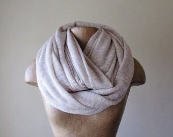 IVORY and WHEAT Infinity Scarf - Chunky Scarf - Oversized Earthy Circle Scarf - Winter Snood