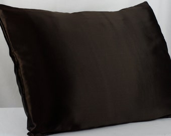 Silk Pillowcase Envelope Closure Soft Espresso Mulberry Silk Charmeuse Standard & King Size, Bedding for Sensitive Skin and Hair Care