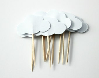 White Cloud Cupcake Toppers, Birthday Party, Baby Shower, Party Decor, Double Sided, Set of 12