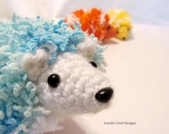 Crochet Hedgehog, Amigurumi, Plush Toy, Softie, Doll, Blue and White
