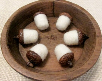 Acorns, Felted Wool Acorns, Natural Acorns, Set of Six, Made to Order, Woodland Decor
