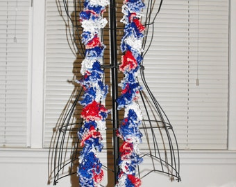 Red, White & Blue Ruffle Scarf - 66 Inch
