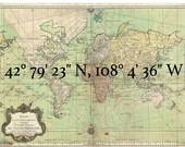 Temporary Tattoo - Latitude Longitude Coordinates - Personalized Custom Gift - Map Location