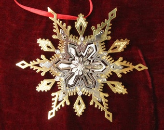 Lunt Two Color  Gold and Silver Three Dimensional Snowflake Ornament