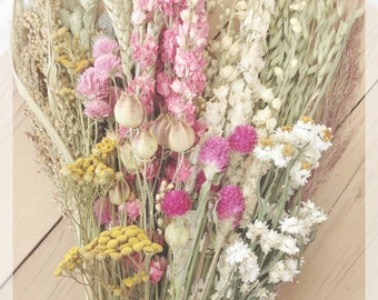 Pink Vintage Wildflower Collection - DIY Bundle of Dried Flowers - Natural Preserved - Cream white yellow pale green - Rustic Wedding Barn