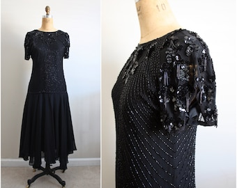 Vintage 80s Oleg Cassini Lace Beaded Dress Sheer. Cocktail Party Draped Scallop. Size S/M