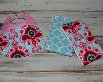 Baby Girl Burp Cloth and Bib Gift Set Best Burp Cloth Bib Set Baby Shower Gift Posh Baby Bib Burp Cloth