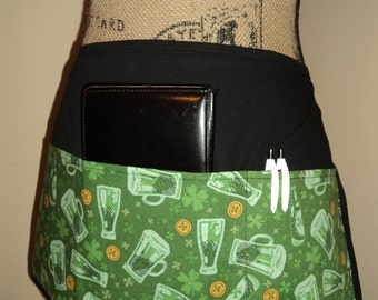 Server Half Apron- St. Patrick's Day - Beer and Shamrocks - Ready to Ship!