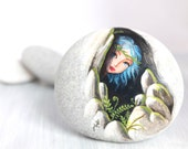 Painted stone. Made to order. Little elf , sprite of the forest painted pebbles. free shipping