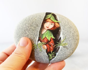 Painted stone. Unique collectible stone  Express Free shipping. Fairy, sprite of the forest painted rock. Beach pebbles art.