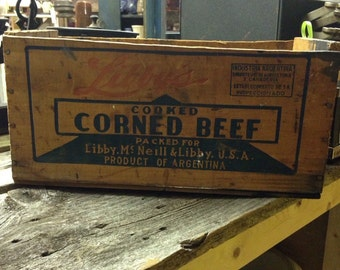 Vintage wooden shipping crate cooked corned beef vintage kitchen vintage country store farmhouse display