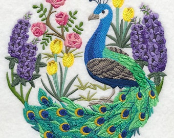 Peacock Scene Embroidered Flour Sack Hand/Dish Towel