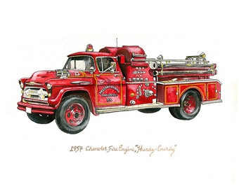 """Vintage 1957 Chevy Fire Truck """"Hurdy Gurdy"""" watercolor print, 8x10"""""""