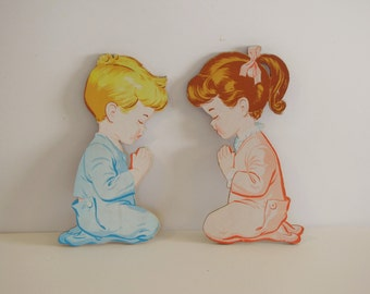 Vintage Praying Boy and Girl Wall Hangings - Children's Room - Baby Room Decor