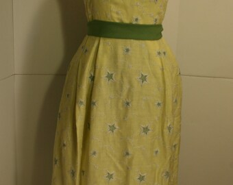 Vintage 60s Yellow Olive Green Gown w/ Crinoline netting 1960s Hand Made