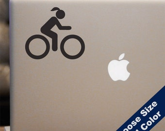 Women's Cycling Decal  - Biking Sticker - For Car Window, Laptop, iPhone