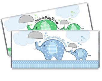 Umbrellaphants Blue Green Baby Shower Favors Elephants Safari Baby Shower Candy Bar Wrappers