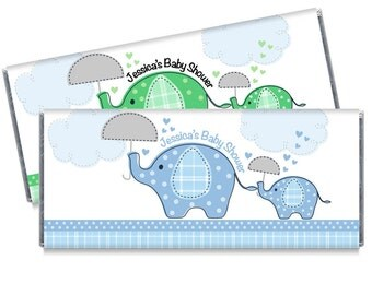 Blue Umbrella Elephants Baby Shower Candy Bar Wrappers Elephant Baby Shower Favors