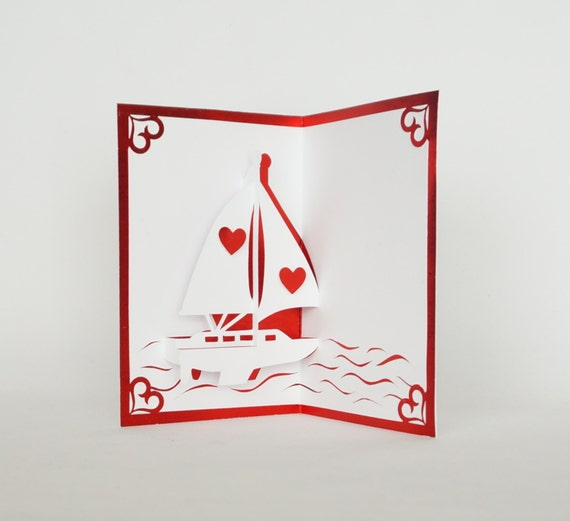 LOVE BOAT VALENTINE's Day 3D Pop Up Card Handmade Handcut in Metallic Red and White One Of A Kind
