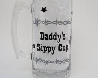 Daddy's Sippy Cup , Beer Mug , Gift For Men , Western Theme , Father's Day Gift,  Beer Mug With Vinyl , Rodeo , Bull Rider  , Beer Gift